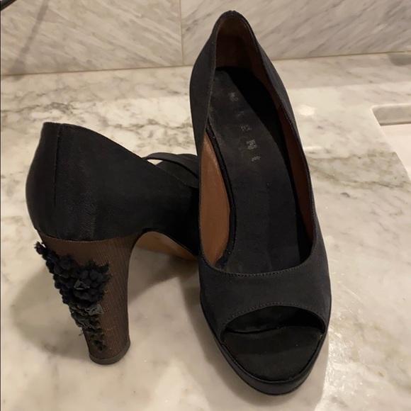 black platform evening shoes